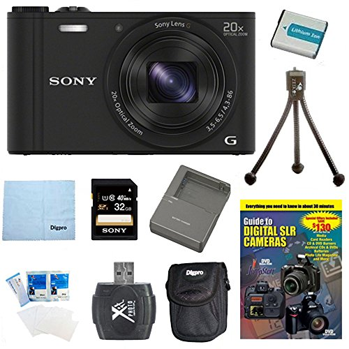 Sony WX350 DSC-WX350 DSCWX350K DSC-WX350/K 18 MP Digital Camera (Black) 32GB Kit Includes Camera, 32GB memory card, DVD, battery pack, Rapid AC/DC Charger carrying case, card reader, mini tripood, screen protectors and micro fiber cloth by Beach Camera