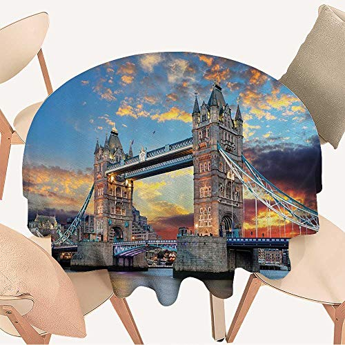 (Round Tablecloths Tower Bridge The Dramatic Sunwith Blurred Thames River and Clouds or Everyday Dinner, Parties, 67 INCH Round)