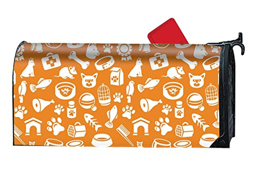 - FANMIL 9X21 Inches Pattern with Funny Cat and Dog Icons Mailbox Cover- Magnetic Strips for Steel Standard Rural Mailbox