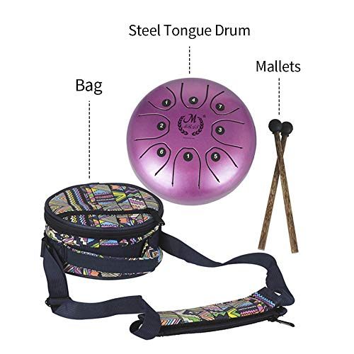 Heilsa Mini Steel Tongue Drum, 5.5 Inch Tank Drum Chakra Drum with Rubber Musical Mallet and Travel Bag Stress Relieve Musical Instrument for Art Lovers Children's Music Enlightenment Buddhist Medita by Heilsa (Image #5)