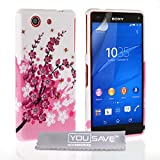 Yousave Accessories Sony Xperia Z3 Compact Case Floral Bee Silicone Gel Cover