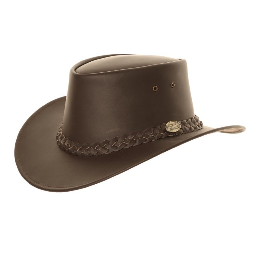 Boxed Plaited band Brown Leather Aussie-Style Cowboy Hat