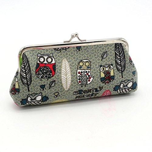 HP95(TM) Women Lady Retro Vintage Owl Small Wallet Hasp Purse Clutch Bag (Gray)