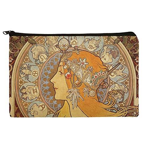 (Zodiac Alphonse Mucha Art Nouveau Makeup Cosmetic Bag Organizer)