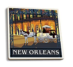 New Orleans, Louisiana - French Quarter (Set of 4 Ceramic Coasters - Cork-backed, Absorbent)
