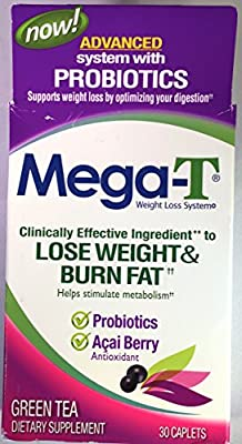 Two-Pack Mega-T Green Tea Weight Loss System Dietary Supplement 30 Caplets Each - 60 Caplets Total - Advanced System With Probiotics and Acai Berry
