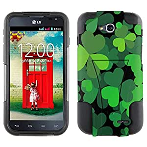 LG Optimus L90 Hybrid Case Saint Patrick Day Black Green Three Leaf on Black 2 Piece Style Silicone Case Cover with Stand forLG Optimus L90