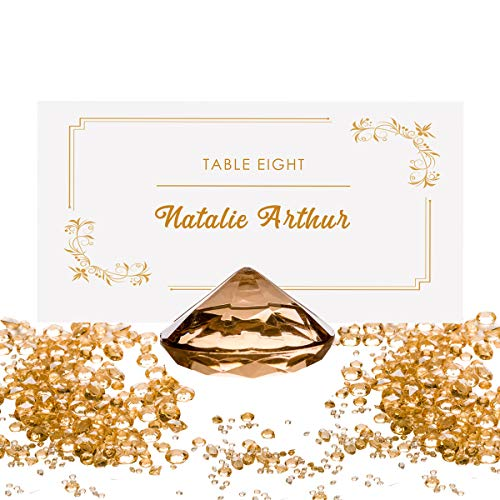 GOLD Diamond Table Number Holder & Place Card Holder (20 Pieces) and Diamond Table Confetti (with over 6,000 diamonds) Party and Wedding Table Decorations