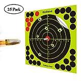 Shooting Targets 8 inch 50,25 Pack Splatter Targets Self Adhesive Paper Reactive Target Stickers for Gun Rifle Pistol Bb Gun Airsoft Pellet Gun Air Rifle