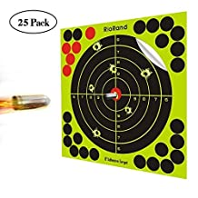 Shooting Targets 8 inch 50,25 Pack Splatter Targets Self Adhesive Paper Reactive Target Stickers for Gun Rifle Pistol Bb Gun Airsoft Pellet Gun Air Rifle