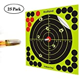Shooting Targets 50, 25 Packs Splatter Targets 8 inch Self Adhesive Paper Reactive Target Stickers for Gun Rifle Pistol Bb Gun AirSoft Pellet Gun Air Rifle