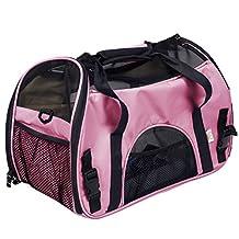 Super buy Large Pet Carrier OxFord Soft Sided Cat/Dog Comfort Travel Tote Shoulder Bag (Pink) by Super buy