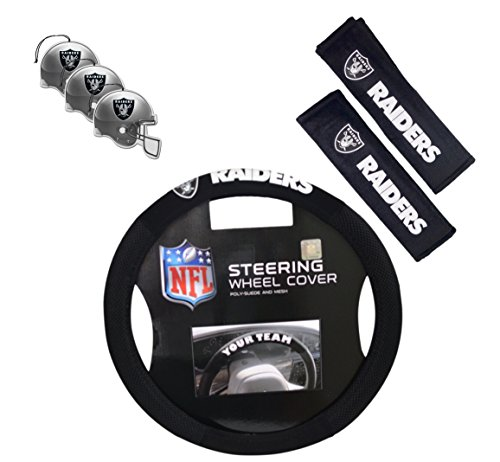 Official National Football League Fan Shop Authentic Auto Accessories Bundle (Oakland Raiders)