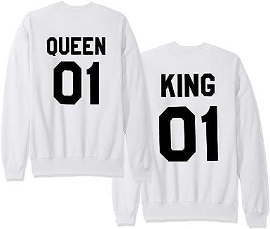 Moda Hombre y Mujer Pareja Impresión Corona King Queen ...