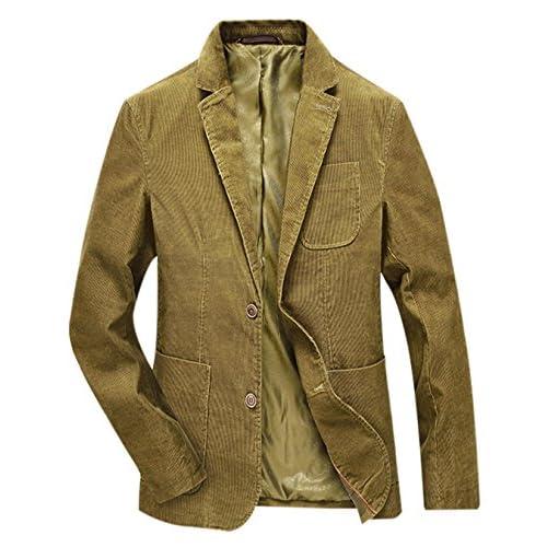 6cfae030 Gihuo Men's Slim Fit Stylish Cotton Corduroy Sport Jacket 2 Botton Blazer  with Elbow Patches durable