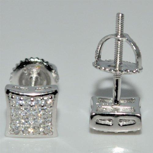 Stud Earring 6mm Kite Shaped Pave Screw Back Princess Cut Look Men Women Silver