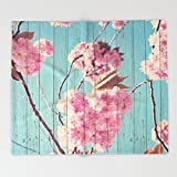 Society6 Sweet Flowers on Wood 06 Throw Blankets 88'' x 104'' Blanket