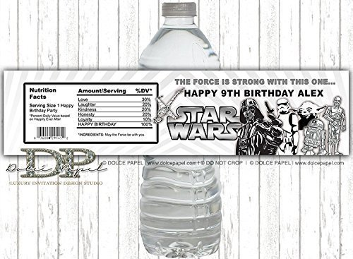 10 STAR WARS Black and White Vintage Any Age Water Bottle Labels for your Birthday Party or -