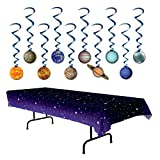 TwiceBooked Space Party Decoration Bundle - Stars Table Cover and Solar System Hanging Whirls