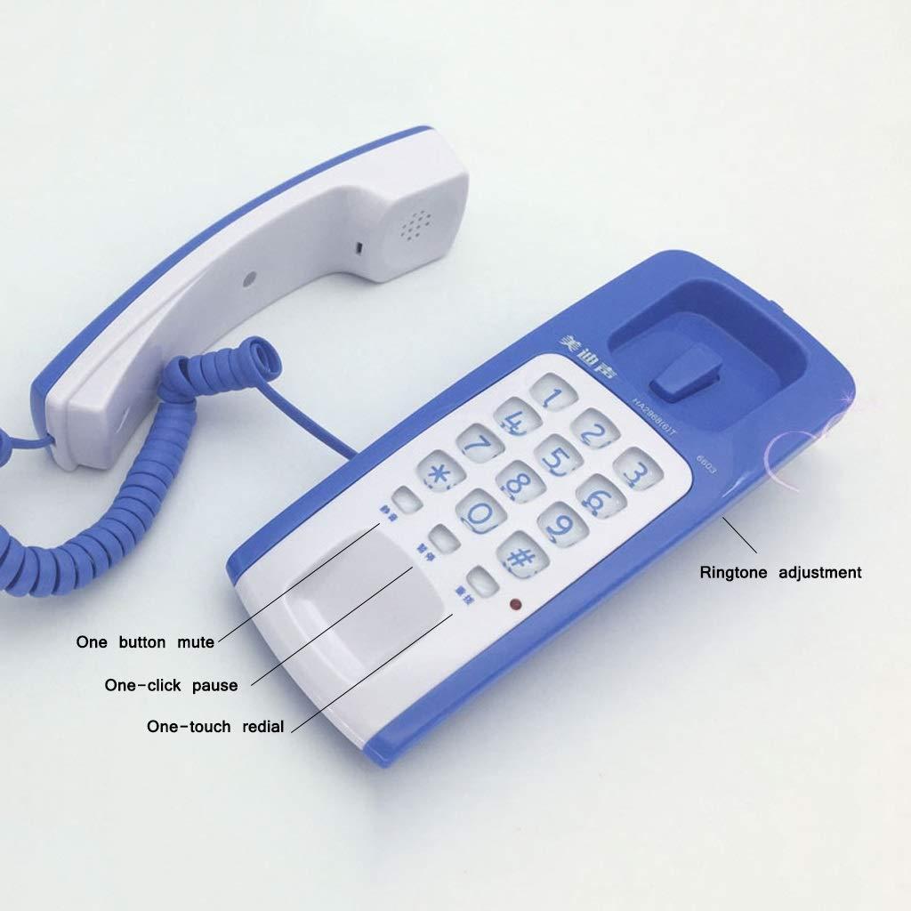 Color : Blue QMXDH Household Festnetz-Telefon Home School Office Hotel Wandmontiertes Mini-Telefon mit einem Tastendruck Replay-Telefon Mit einem klick Anhalten unterbrechen