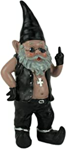 Zeckos Gnoschitt The Naughty Biker Gnome Statue Motorcycle Leather 13 Inch