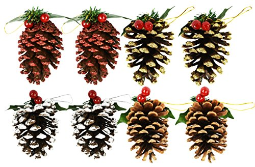 Set of 8 Pine Cone Ornaments/Decorations (8 -