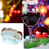 Chenway 40 Pcs Christmas Santa Claus Hat Red Wine Cup Card Christmas Hat Cup Card Decora, Cute Lovely Gift Artificial Craft Gifts Mini Decorations Festival Party Decor (B)