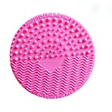 Mini Silicone Makeup Brush Washing Scrubber Board Pad Cleaning Tool - Rose red