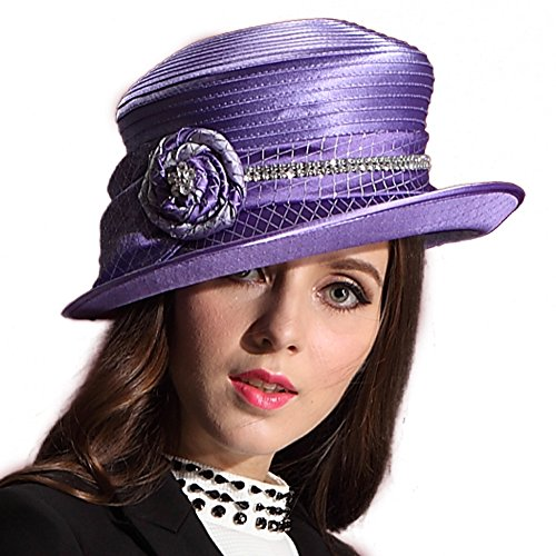 June's Young Women Hat Wide Brim Sparkling Flower Church ...