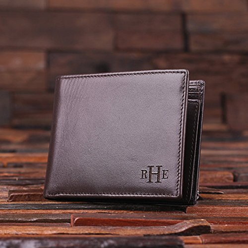 Personalized Engraved Monogrammed Leather Wallet product image
