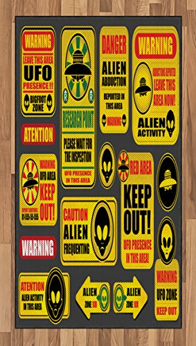 Lunarable Outer Space Area Rug, Warning Ufo Signs with Alien Faces Heads Galactic Theme Paranormal Activity Design, Flat Woven Accent Rug for Living Room Bedroom Dining Room, 2.6 x 5 FT, Yellow by Lunarable