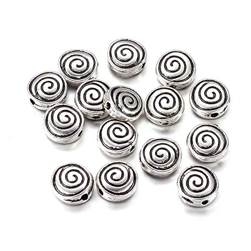 (Kissitty 50-Piece Tibetan Antique Silver Flat Round Spiral Spacer Beads Lead Free & Nickel Free & Cadmium Free Edge Drilled Double Sided Metal Swirl Beads)