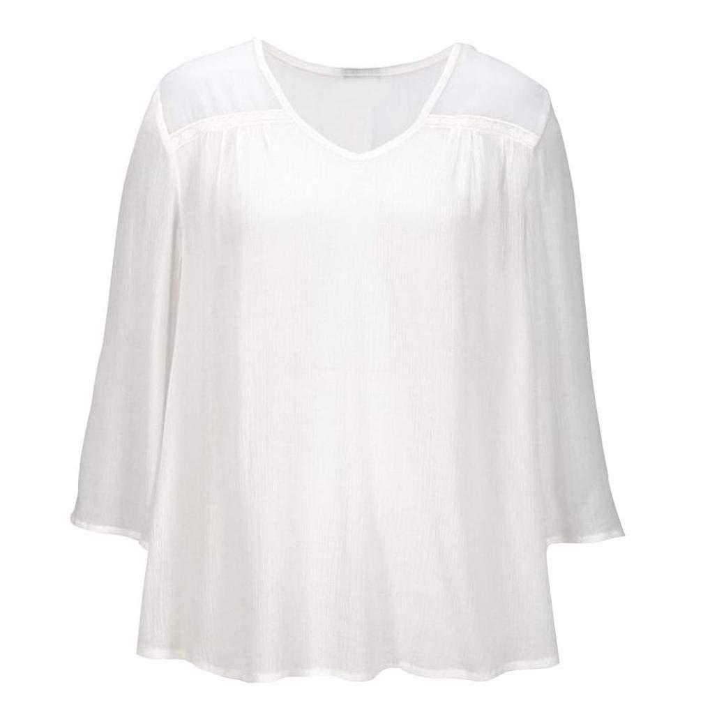 Mujer OtoñO Manga Larga Camiseta Top,Belasdla 2018 Invierno Camisas Mujer Moda Casual Suelto Blusa TamañO Grande Dobladillo Flor De Gancho Camiseta T-Shirt: ...