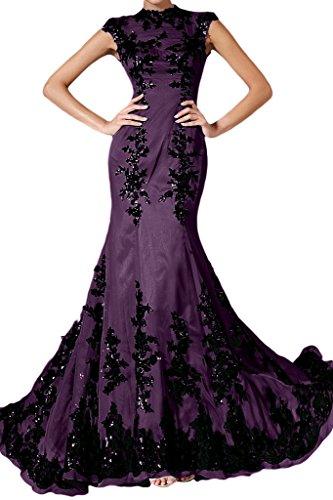 Uva donna Chiffon lungo un'ampia Elegant Mermaid vestito Applicazione da punta Ivydressing sera E1nqgEPR