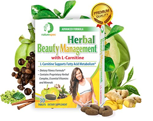 Herbal Beauty Management L-Carnitine Premium, Fatty acid metabolism Dietary Fitness Formula Weight Loss Fat Burn Essential Vitamins Minerals Propriety Herbal Supplements