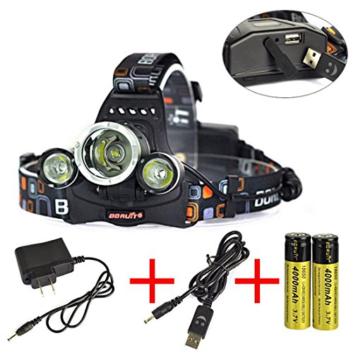 Perfectly 6000LM LED Headlamp Color Black Flashlight Night Light Waterproof with Battery USB AC Charger