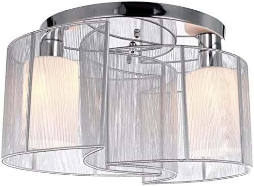 ... 2 Light Semi Flush Mount Ceiling Light Fixture With Fabric Shade And  Cloth Cover, Chrome, Mini Style Chandeliers For Hallway, Study Room/Office,  Bedroom