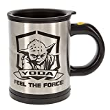 Star Wars Yoda 12 oz. Stainless Steel Self Stirring Travel Mug - Mix Your Drink with the Force