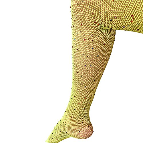 Sexy Mesh Stockings Colorful Sparkle Crystal Rhinestone Fishnets High Waist Tights (Free Size, Chartreuse) ()