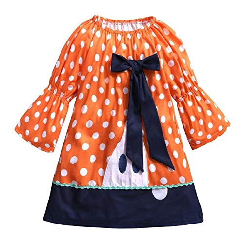 OTINICE Baby Girls Long Sleeve Halloween Costume Outfits Dot Bowknot Embroidery Dresses ()