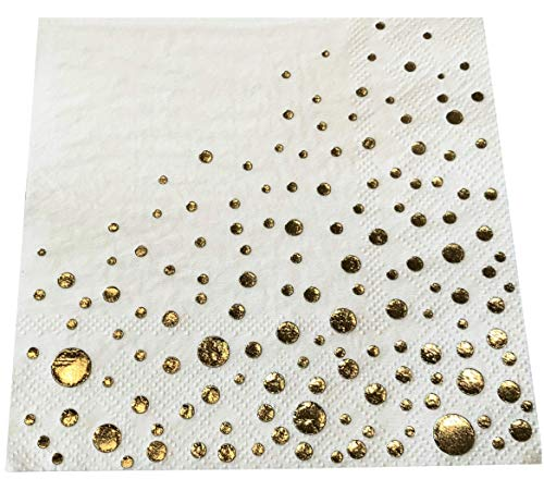 Gold foil dot Cocktail Napkins 5x5 inch 50-Pack, Luncheon and Party Paper Beverage Napkins, Gold Theme Party Supplies for Weddings, Bridal Baby Shower, Engagement, Birthday, Anniversary ()