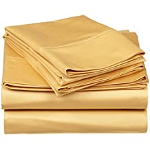 """Rinku Linen 400 Thread Count 100% Egyptian Cotton 4-Piece Sheet Set Three Quarter/Small Double/Antique Size (48"""" x 75"""") Gold Solid Fit Up To 8"""" Deep Mattress"""
