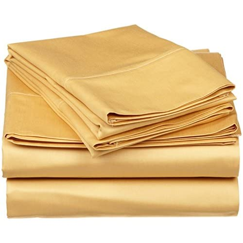 Wholesale Laxlinen 300 Thread Count 100% Egyptian Cotton Super Quality 1PC Flat Sheet(Top Sheet) King/ Standard Size, Gold Solid for cheap