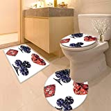 Printsonne Toilet Cushion Suit Collection Diamond Shaped Cards Poker Face Luxury Fortune Symbols Sapphire Decorative Decor Dark in Bathroom Accessories
