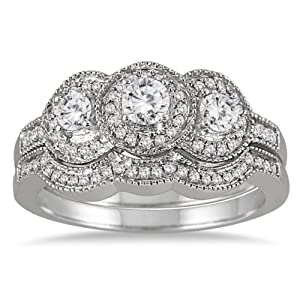 AGS Certified 3/4 Carat TW Three Stone Antique Diamond Bridal Set in 10K White Gold (K L Color, I2 I3 Clarity)