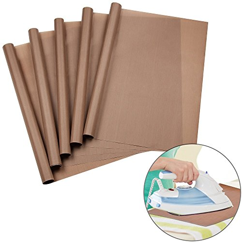 URGEAR PTFE Teflon Sheets for Heat Press Transfers, 100% Non Stick Heat Resistant Craft Mat 16 x 20 Inch-[5 Pack]