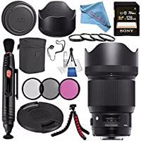 Sigma 85mm f/1.4 DG HSM Art Lens for Nikon F #321955 + 86mm 3 Piece Filter Kit + Sony 128GB SDXC Card + Lens Pen Cleaner + Fibercloth + Lens Capkeeper + Deluxe Cleaning Kit + Flexible Tripod Bundle