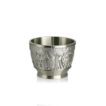 Oriental Pewter CP4 - Vaso de peltre para licor (97% sin plomo, tallado a mano, fabricado en Tailandia): Amazon.es: Hogar