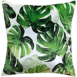 JWH Accent Pillow Cases Tropical Rainforest Cushion Cover Leaf Print Pillowcases Home Bed Room Decorative Palm Tree Leaves 17 x 17 Inch