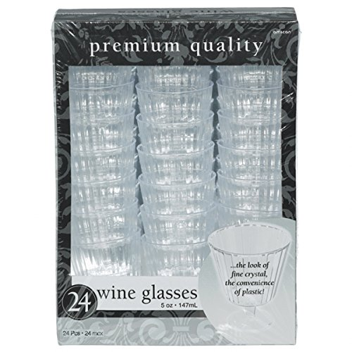 f3a2b85246b Amscan Disposable Premium Quality Boxed Wine Glasses (24 Pack), 5 oz, Clear